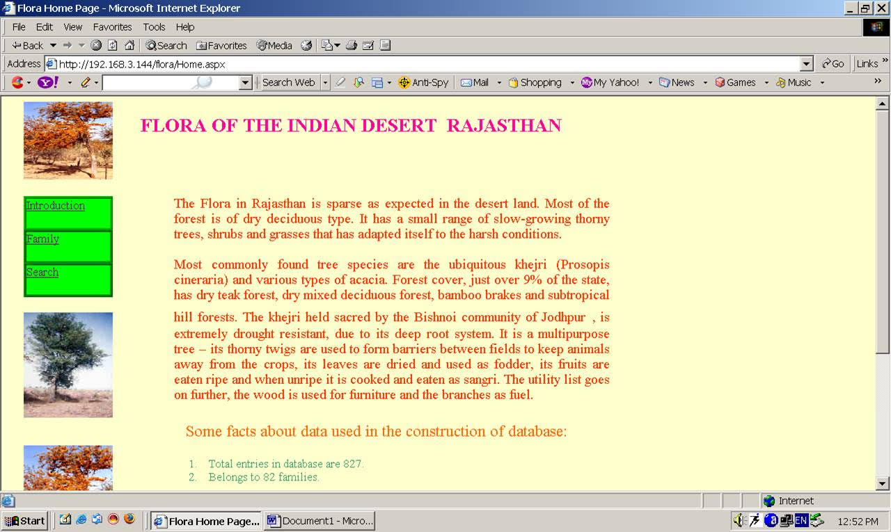 Database of Flora of Indian Desert