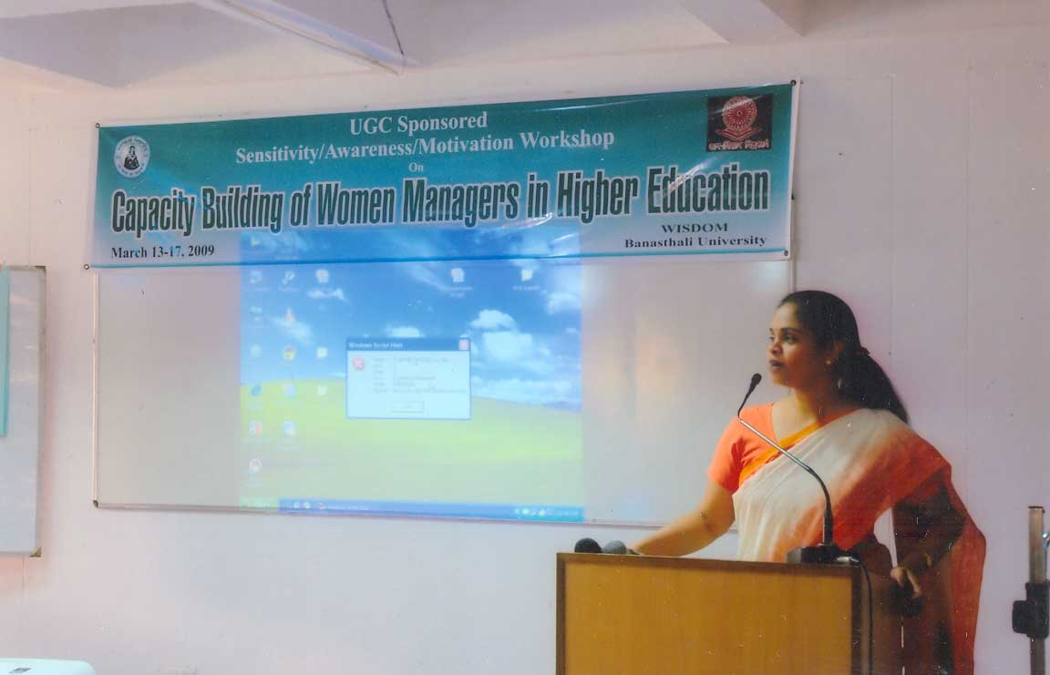 Dr. Ipshita Bansal speaking at the Ice Breaking session of the workshop on Capacity Building (2009)