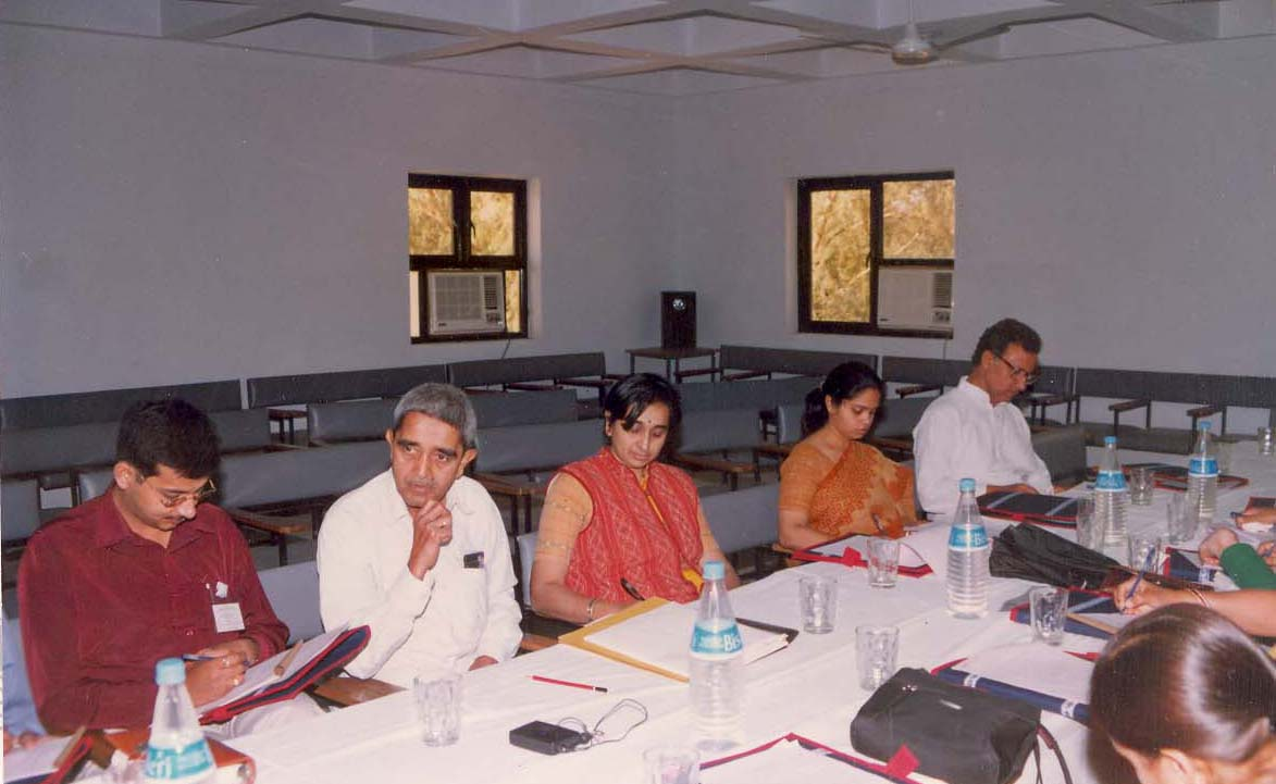 Participants working out in a session at 'Human Values' Workshop (2002)